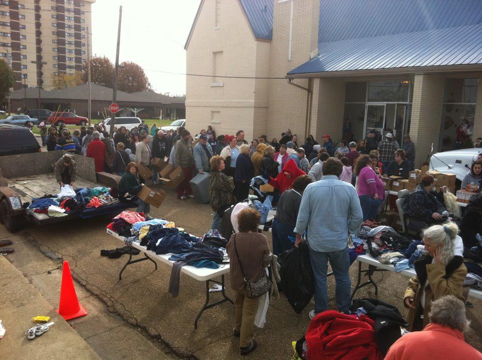March 2012 photo of food clothing distribution