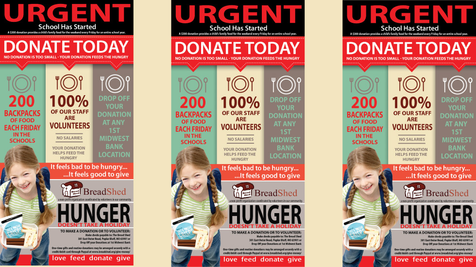 Urgent Donate Now posters encourage giving through money and volunteering