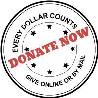 every dollar counts give online or by mail donate now badge with stars