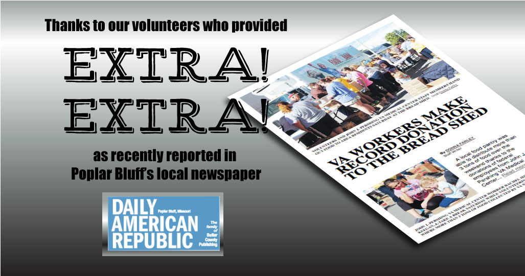 Daily American Republic newspaper highlights Bread Shed volunteers