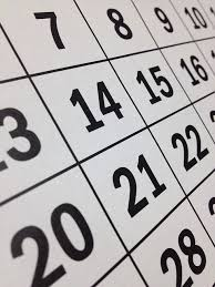 angled picture of numbered calendar squares, Bread Shed events